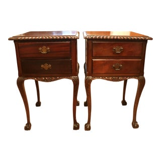 Antique Chippendale Style Mahogany Low Boy Side Tables / Night Stands - a Pair For Sale