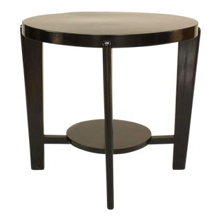 Italian 1940s Ebonized Round Coffee Table For Sale