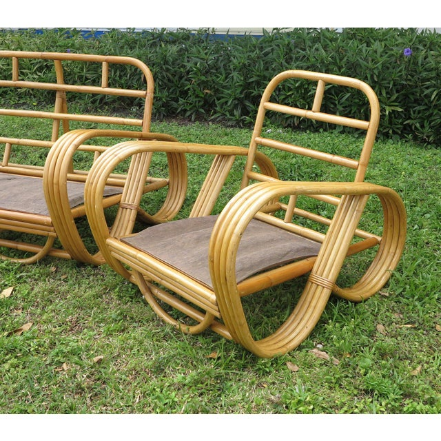 Vintage Rattan Living Room Set Reverse Pretzel Sofa & - Set of 3Club Chairs For Sale - Image 4 of 6