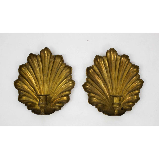 Metal Mid Century Brass Candle Sconces - a Pair For Sale - Image 7 of 7