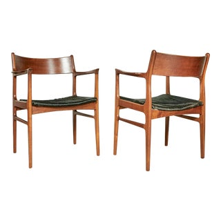 1950s Funder-Schmidt Madsen Odense Denmark Teak Arm Chairs W/ Cowhide Seats, Pr For Sale