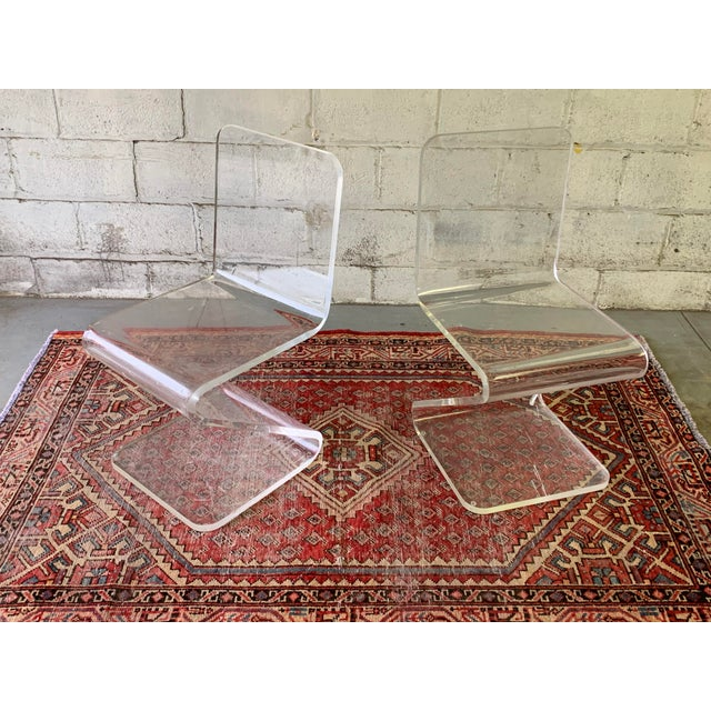 Mid Century Modern Lucite Chairs, a Pair For Sale - Image 11 of 11