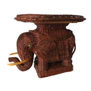 Vintage Wicker Green Eyes Elephant Table Rattan