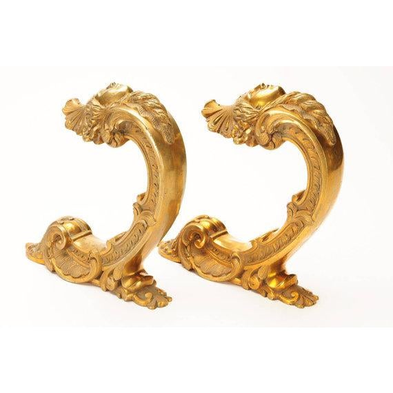 French 19th century Beautiful Pair of Bronze Figural Wall Brackets For Sale - Image 4 of 6