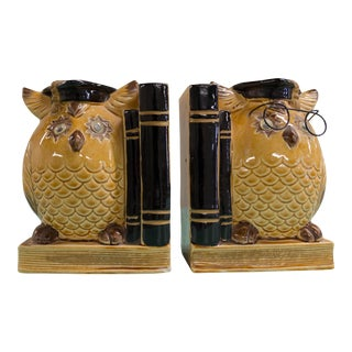 Graduate Vintage Bank Owl Ceramic Bookends - a Pair