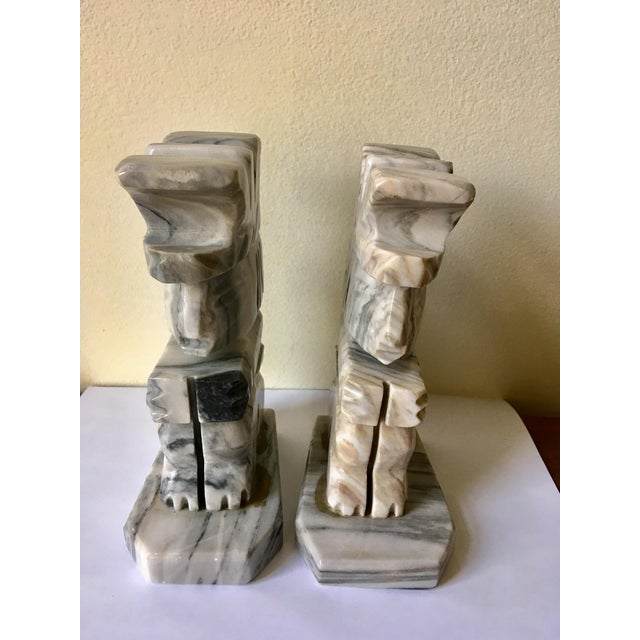 Grey & White Natural Stone Aztec Bookends - A Pair For Sale - Image 4 of 5