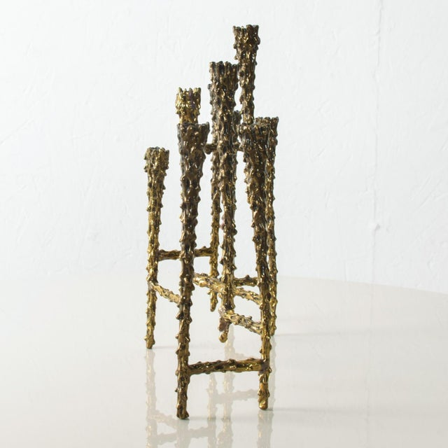 """For your consideration: Striking MODERN Tiered BRUTALIST Brass Candle Holder with 9 slots for candles Measures: 6 1/2"""" H x..."""
