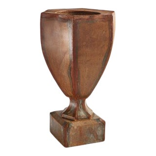 Weathered Metal Tapered Square Urn from Kenneth Ludwig Chicago For Sale