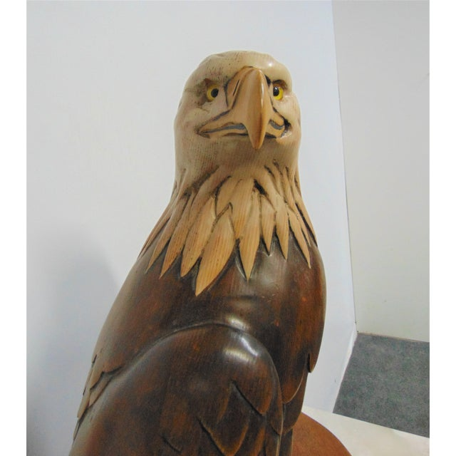 Late 20th Century Hand Carved American Bald Eagle Statue For Sale - Image 5 of 7