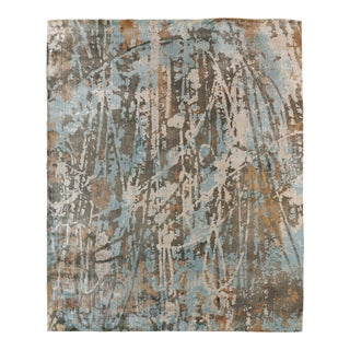 Bridgewater Hand loom Bamboo Silk Blue Rug - 8'x10' For Sale