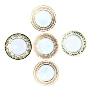 19th Century Limoges Gilt Dinner Plates - a Complementary Set of 5 For Sale