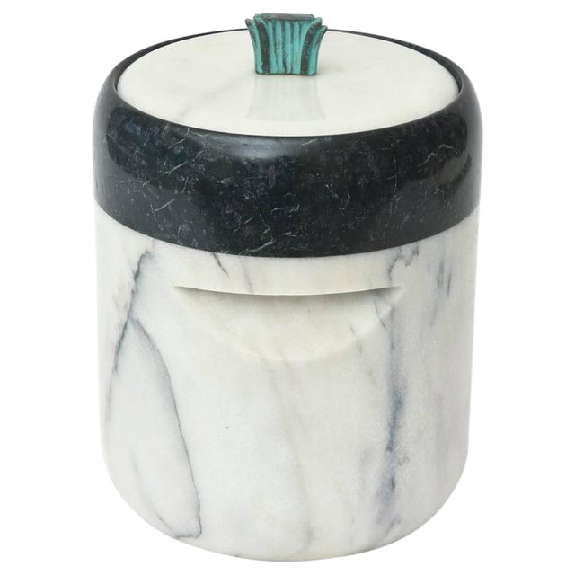Mid-Century Georges Briard Marble and Bronze Ice Bucket For Sale