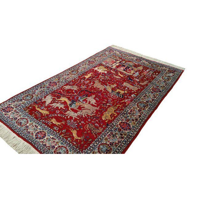 Vintage Scenery Hand Made Knotted Rug - 4′8″ × 7′5″ - Size Cat. 4x6 5x7 - Image 3 of 3