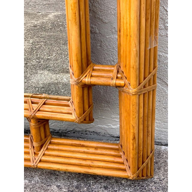 Modern Large Bamboo & Willow Architectural Mirror, by Henredon For Sale - Image 3 of 7