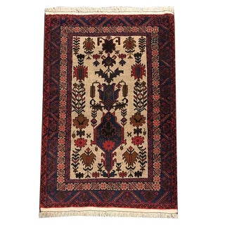 Vintage Traditional Tribal Hand Knotted Rug- 3′1″ × 4′5″ For Sale