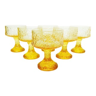 Vintage Yellow Crystal Impromtu Coupe Glasses by Lenox - Set of 6