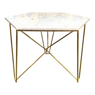 Italian Midcentury Brass Hexagonal Table with Carrara Marble Top For Sale