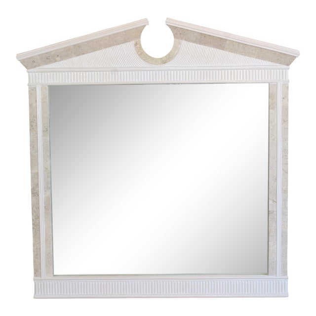 Vintage Pencil Reed and Tessellated Stone Wall Mirror For Sale