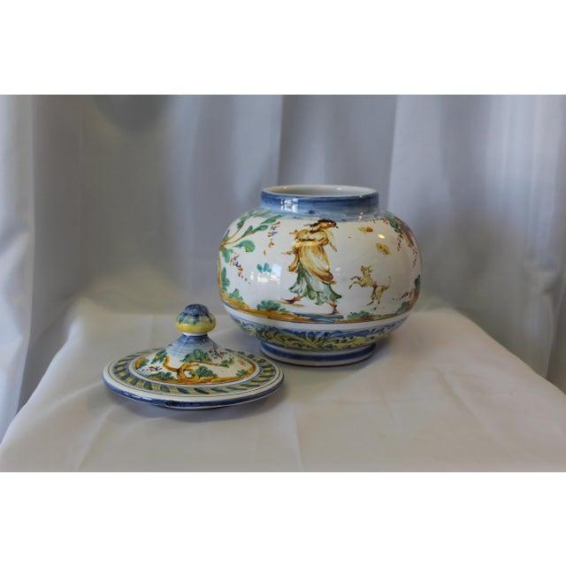 White Vintage Ernan Italian Hand Painted Ceramic Lidded Urn For Sale - Image 8 of 10