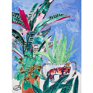 House Plant Jungle on Blue With Tiger Pot Painting For Sale