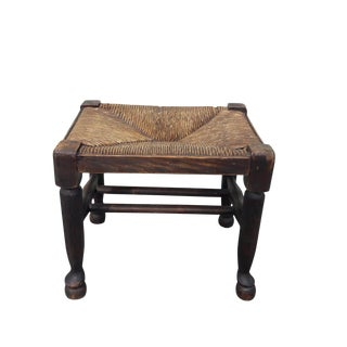 Antique French Provincial Rush Footstool French Rush and Oak Country Farmhouse Footstool Tabouret For Sale