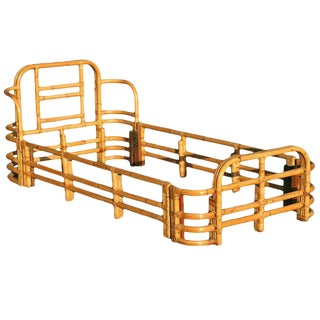 Restored Single Sized Bent Rattan Bed Frame