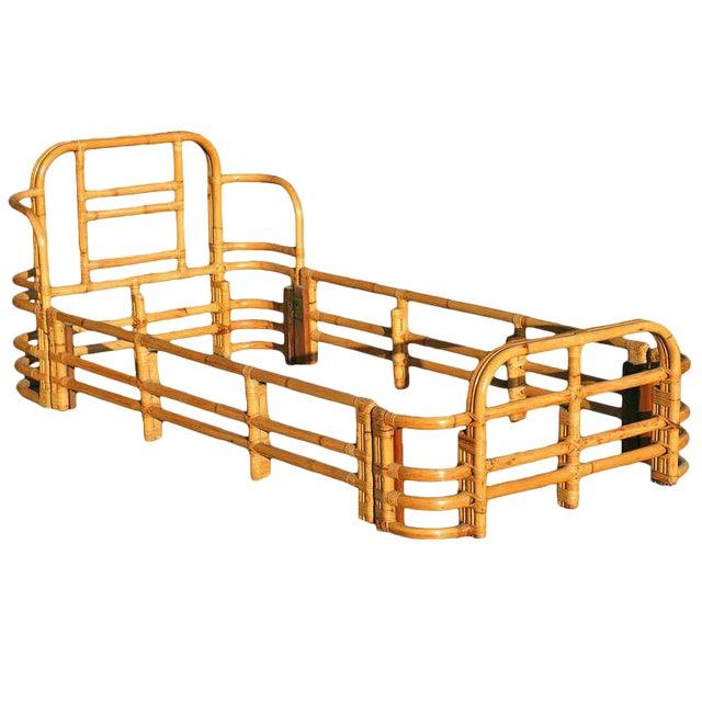 Restored Single Sized Bent Rattan Bed Frame - Image 1 of 5