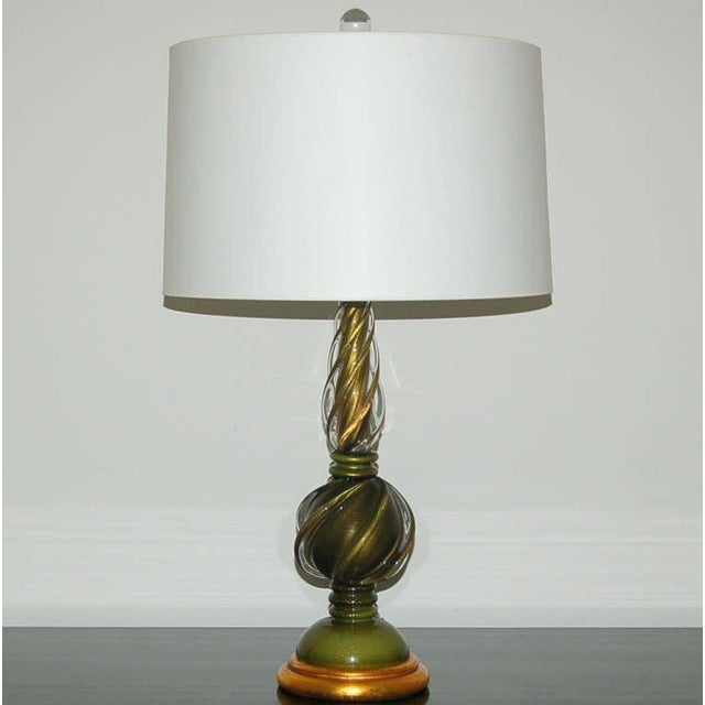 1960s Marbro Murano Glass Table Lamps Green Gold For Sale - Image 5 of 9