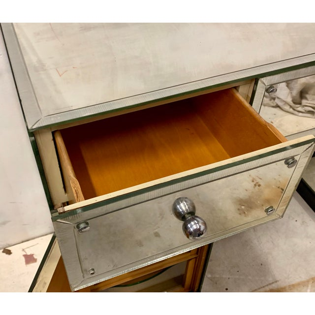 Hollywood Regency Mirrored Desk or Console Table For Sale In Atlanta - Image 6 of 8