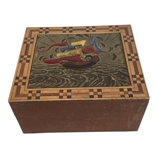 Japanese Box With Carving, Inlay, and Paint For Sale