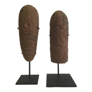 Early 19th Century Antique Abstract Terra Cotta Figures - a Pair For Sale
