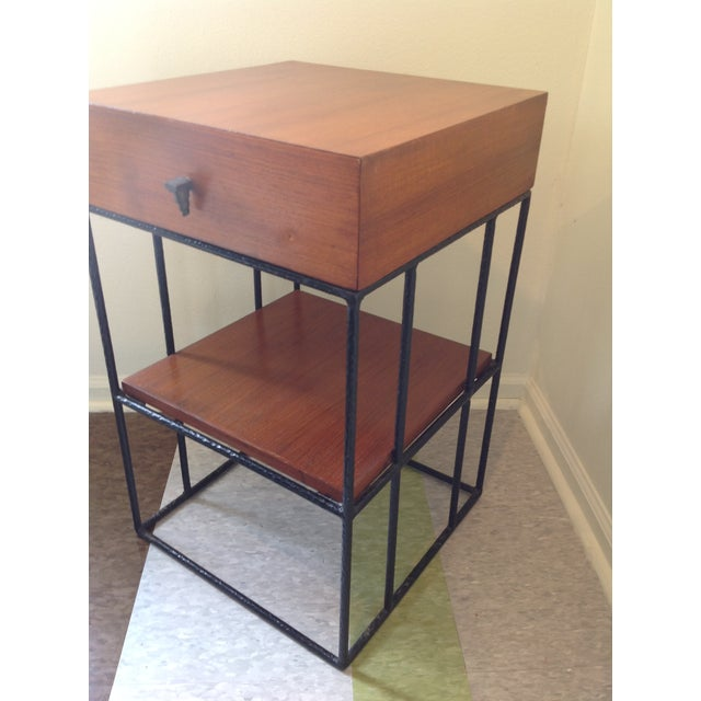 Ashley Hicks Steel & Teak Nightstand - Image 6 of 10