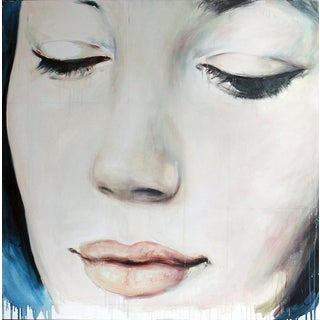 """Katie Verebics """"Blue Face (Self-Portrait With Drooping Eyelids)"""" Contemporary Art Hungarian National Award Recipient Original Oil Painting For Sale"""
