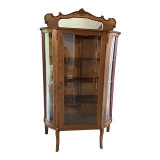 Antique Glass Door Oak Cabinet For Sale