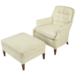 Button Tufted Creamy Linen Lounge Chair and Ottoman For Sale