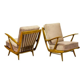 Magnificent Mid-Century Design Art-Deco Influenced Spindle Back Lounge Club Chairs, 1950s