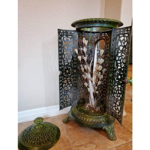 Green Decorative French Art Nouveau Enameled Cast Iron Antique Parlor Heater Stove For Sale - Image 8 of 11