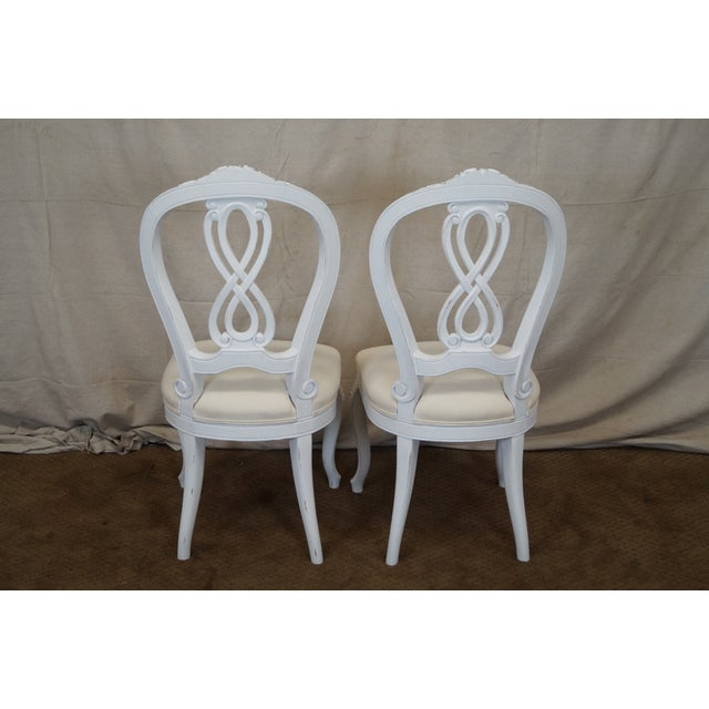 French Style White Dining Chairs - Set of 10 - Image 5 of 7