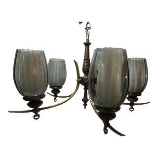 Vintage Virden Mid Century Modern Brass Glass Shade Chandelier