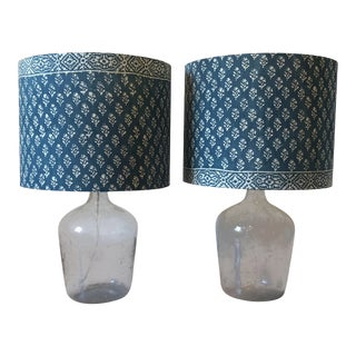 Boho Chic Cindy Ciskowski Glass Jug Lamps - a Pair For Sale