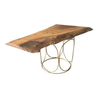 Elm Live Edge Pedestal Coffee Table For Sale