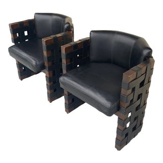 Midcentury Modern Chairs With Faux Leather Straps. For Sale