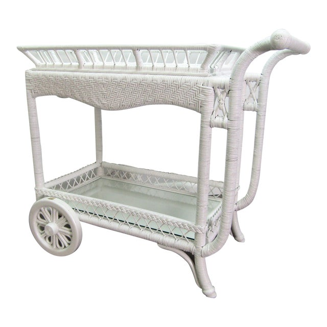 1940's Wicker Bar Cart in White Lacquer For Sale