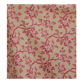 1830 French Neutral Muted Tone Roller Printed Floral Curtain For Sale