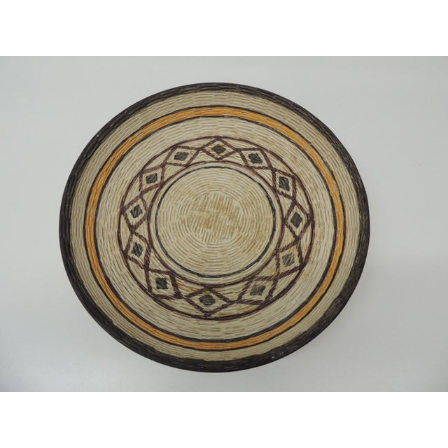 Vintage Yellow and Brown English Basket Weave Design Ceramic Decorative Bowl For Sale In Miami - Image 6 of 6
