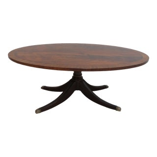 Ethan Allen Flame Mahogany Oval Coffee Table For Sale