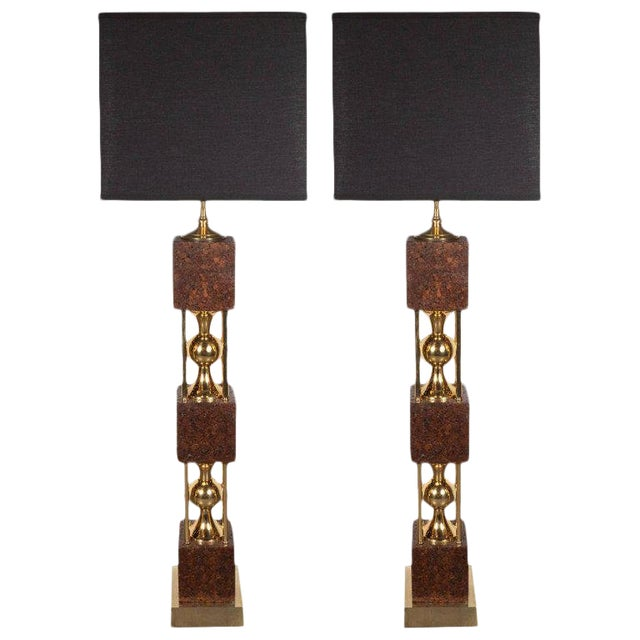Pair of Sculptural Mid-Century Modern Polished Brass and Cork Table Lamps For Sale