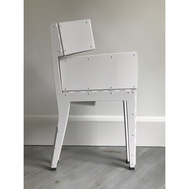 White Folding Stitch Chair - 2 Available For Sale - Image 8 of 8