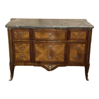 Commode, 19th Century French Louis XVI Marquetry With Marble Top For Sale