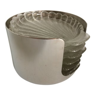 Set of 6 Glass Seashell Coasters in a Silver Plated Caddie by W. Rogers For Sale
